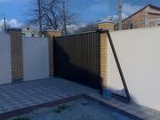 Откатные и распашные электро ворота,  калитки забор из профнастила.