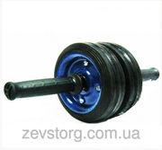 Ролик гимнастический для пресса металлический два колеса (колесо для п